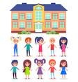 building kindergarten or school group of vector image