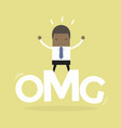 businessman surprise stand on oh my god word vector image