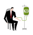 businessman transfusion of money donation of cash vector image vector image