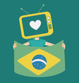 Cartoon Television Holding a Brazilian Flag vector image