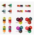 Collection of geometric paper infographic vector image vector image