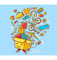 colorful joy character shopping box with vector image vector image