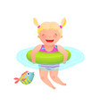 cute laughing girl kid swimming with inflatable vector image vector image