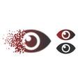 disintegrating dot halftone eye icon vector image vector image