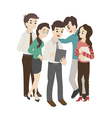 Group of business man and woman look at something vector image vector image