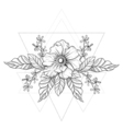 Hand drawn boho tattoo Blackwork flower in hipster vector image vector image