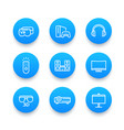 home entertainment system linear blue icons set vector image
