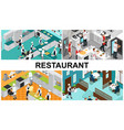 isometric restaurant cooking composition vector image vector image