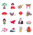 Japanese Culture Symbols Flat Icons Set vector image