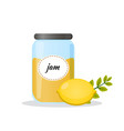 lemon jam in transparent jar isolated flat icon vector image