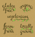 lettering - organic natural food vegan and vector image vector image