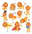 lion mascot pose happy cartoon cute wild vector image vector image