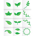 logo template leaf design flat silhouette vector image