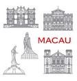 macau landmark buildings architecture line facades vector image vector image