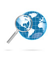 magnification glass and world vector image vector image