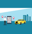 order a taxi online with mobile app vector image