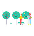 people taking care about trees in garden icon vector image vector image