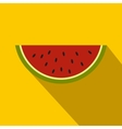 Piece of watermelon icon flat style vector image