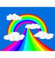 rainbow with clouds bright colors vector image