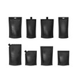 realistic detailed 3d various black blank doypack vector image vector image