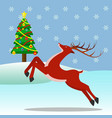 reindeer outside with a christmas tree and vector image