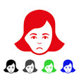 sad lady face icon vector image