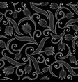 seamless pattern with tulips on black background vector image vector image
