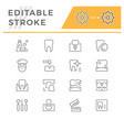 set dental related line icons vector image vector image