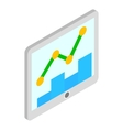 Tablet with graph and chart icon isometric 3d vector image vector image
