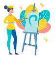 the girl artist paints a picture art scene vector image