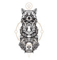 totem bear tiger and raccoon for creating vector image vector image