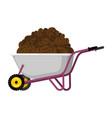 wheelbarrow and coffee coffee beans in garden vector image vector image