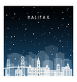 winter night in halifax night city in flat style vector image vector image