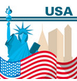 american flag and statue of liberty vector image vector image
