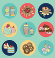 bakery doodle colorful in circle vector image vector image