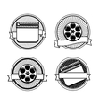 Black and white movie stamps icons vector image vector image