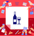 bottle of wine and wineglass icon vector image vector image