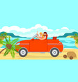 boy and girl travel by car to sea vector image vector image