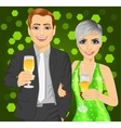 Business man and elegant woman with wine glasses vector image
