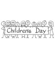 cartoon group children holding big sign vector image
