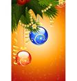 christmas card with fir-tree mistletoe vector image vector image