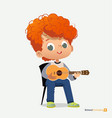 curly red-haired boy sit on chair play guitar vector image vector image