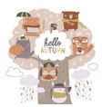 cute animals sit on autumn tree on white vector image vector image