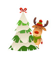 cute cartoon reindeer behind christmas tree vector image vector image