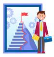 door to success office worker near career ladder vector image