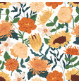 elegant seamless floral pattern with fall flowers vector image