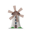 european stone windmill isolated icon vector image vector image