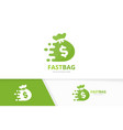 fast bag logo combination speed sack vector image vector image