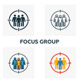 focus group icon set four elements in diferent vector image