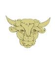 green bull cow drawing vector image vector image